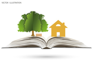 House and tree on open book.
