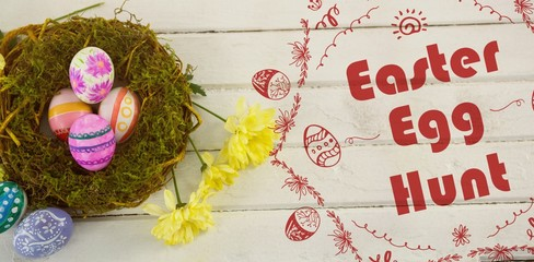 Composite image of easter egg hunt logo against white background