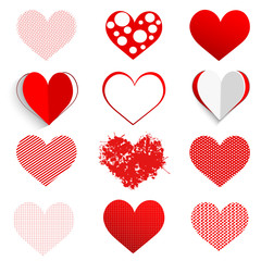 White paper heart icon on red background.