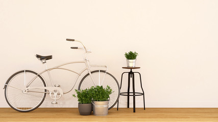 bycicle pearl white and indoor garden-3d rendering