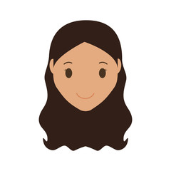 happy woman face cartoon icon over white background. colorful design. vector illustration
