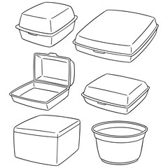 vector set of foam container