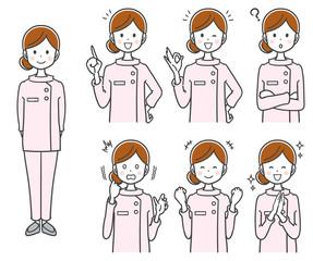 女性看護師のイラスト(セット 全身)