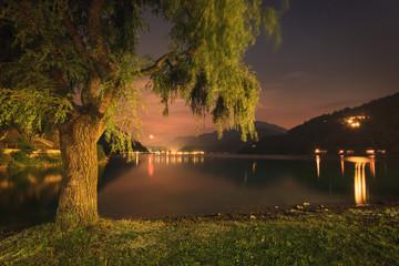 Moonrise above tje Lago di Ledro, Italy