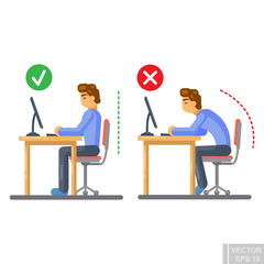 Vector - Correct body alignment in sitting working with computer Flat illustration