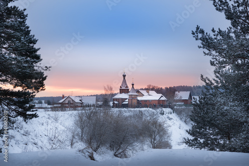 Winter Sunrise In Forest And River Near The Russian Orthodox