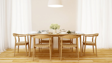 Dining room wooden style and clean design  - 3D Rendering