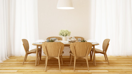 Dining set in white room minimal design - 3D Rendering