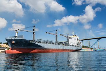 Huge Tanker Docked in Curacao Under Nice sky