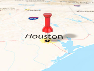 Pushpin on Houston map