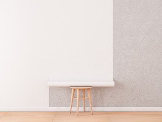 Empty room with White Blank Roll of wallpaper Mockup lies on a chair, 3d rendering