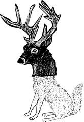 Wolf in a deer mask, hand drawn design