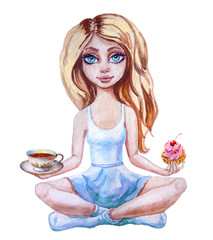 Little cute girl practicing yoga pose with cup and dessert, isolated on white, Watercolor illustration