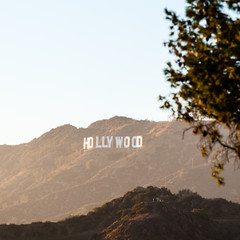 Hollywood sign at the sunset in Los Angeles in USA