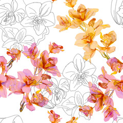Floral seamless pattern. Watercolor sketch orchids. Contour drawing