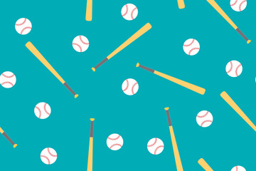 Vector seamless pattern with baseball and bat on blue background.