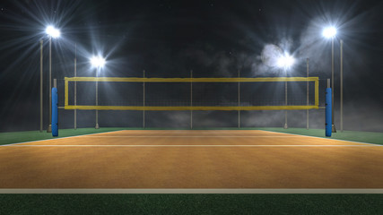 Volleyball arena at night 3d rendering