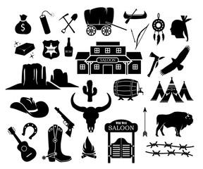 Cowboy, western, wild west icon set vector