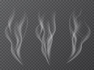 Vector realistic smoke effect set isolated on transparent background.