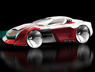 Computer sketch concept car sports coupe. Illustration.
