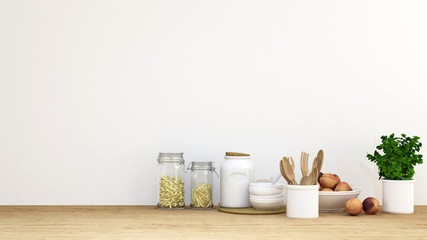 Kitchen set for background - 3D rendering