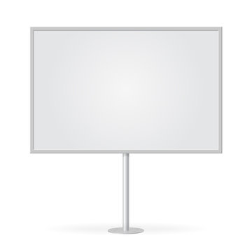 Blank whiteboard with empty copy space, stand on one bar support. Mockup board with single stand, in vector. White billboard with frame for message, commercial or presentation.