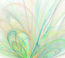 White abstract background with rainbow - green, turquoise, orange, yellow - texture, fractal pattern