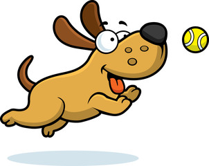 Cartoon Dog Chasing Ball
