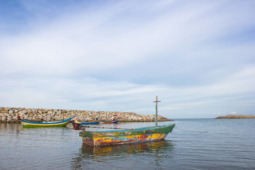 Thai fishing boats with blue sky