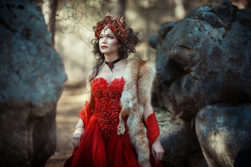 Fairy-tale image of a girl in the forest