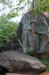 Old stone wall and stairs in the fortress of Sigiriya.