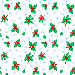 Seamless pattern with a Christmas wreath and snowflakes flying.
