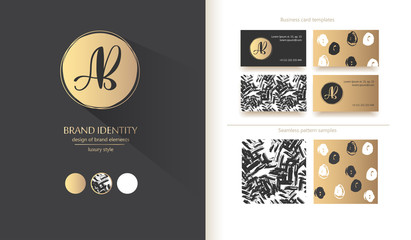 Luxury brand identity. Calligraphy AB letters - sophisticated logo design. Couple business card designs included