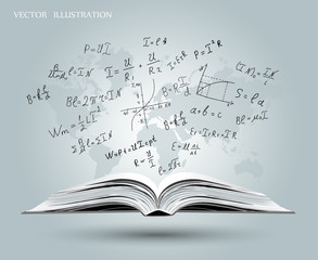 Mathematical formulas and graphs on the open book