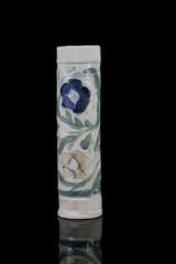 elegant rustic vase on black background