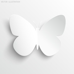 Beautiful paper butterfly on white background.