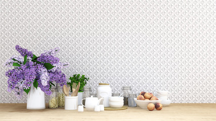 purple flower with kitchen set on tile background - 3D Rendering