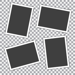 Set of retro photo frame with shadow on a transparent background