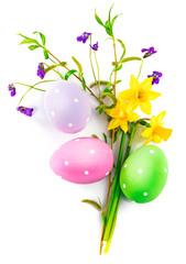 Easter eggs spring flower narcissusviolet green leaf with top