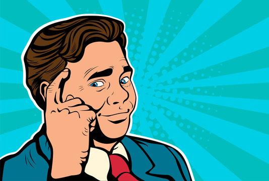 Pop art retro vector, realistic hand drawn illustration. Businessman throws his finger to his nead. Smart decishion, thinking man, business concept idea.