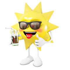 3D sun character with cocktail, 3d rendering