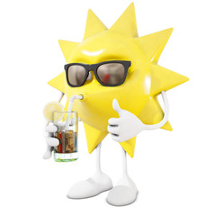 3D sun character drinking cocktail, 3d rendering