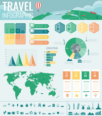Travel and Tourism. Infographic set with charts and other elements. Vector