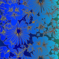 Seamless floral pattern. Vintage floral ornament in style. Blue background with flowers.