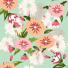 Seamless floral pattern. Vintage floral ornament in the style of Provence shabby chic. Flowers on a blue background.