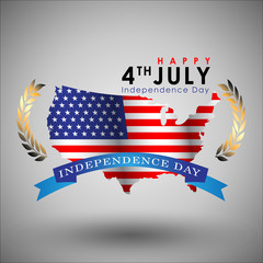 Abstract Happy 4th of July, Memorial Independence Day. Vector and Illustration, EPS 10.