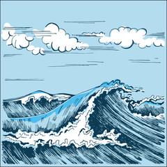 Sea wave landscape stylized graphics