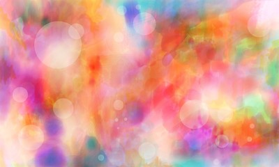 bright colorful digital watercolor paint background with white transparent circles bubbles or bokeh lights on pink purple blue green and red colors