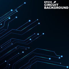 Circuit. Black abstract background of digital technology. New technologies in design. Computer network. Blue, glowing neon lines