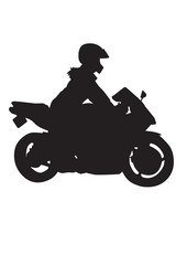Silhouette of a girl on a motorcycle.vector